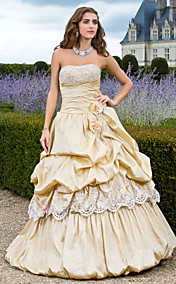Ball Gown Strapless Floor-length Taffeta Evening Dress