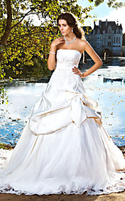 Ball Gown Strapless Chapel Train Satin Pick-up Wedding Dress