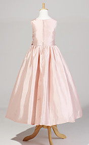 Sweet Sleeveless Taffeta Wedding/Party Flower Girl Dress With Bow
