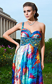 Sheath/Column Sweetheart And One Shoulder Floor-length Satin Evening Dress With Beading And Criss Cross