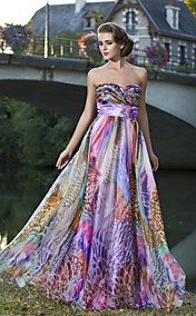 Sheath/Column Sweetheart Strapless Floor-length Chiffon Evening Dress With Flower(s)