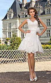 A-line V-neck Knee-length  Lace Wedding Dress