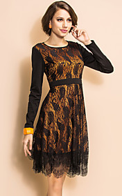 TS VINTAGE Lace Layered Ruffle Long Sleeve Dress