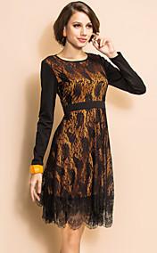 TS Lace Layered Long Sleeve Swing Dress