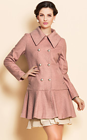 TS Double Breast Ruffle Hem Tweed Coat