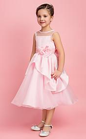 Ball Gown Jewel Tea-length Satin And Organza Flower Girl Dress