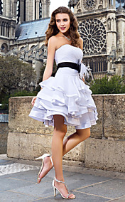 A-line Sweetheart Short/Mini Organza And Satin Wedding Dress With Removable belt