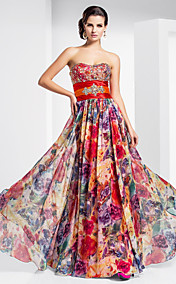 Sheath/Column Sweetheart Floor-length Chiffon Evening Dress With Pattern/Print