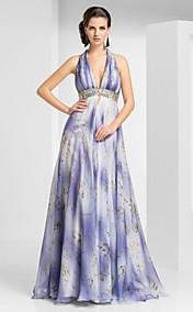 Sheath/Column Halter Floor-length Chiffon Evening Dress With Pattern/Print