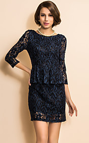 TS V Back Elastic Velvet Lace Peplum Dress