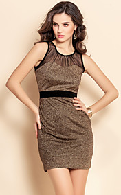 TS Mesh Stitching Gold Jersey Vest Bodycon Dress