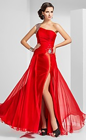 Sheath/Column One Shoulder Floor-length Chiffon Evening Dress With Split Front