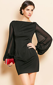 TS Simplicity Beads Lantern Sleeve Jersey Sheath Dress