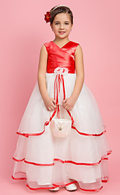 Ball Gown V-neck Floor-length Stretch Satin And Organza Flower Girl Dress
