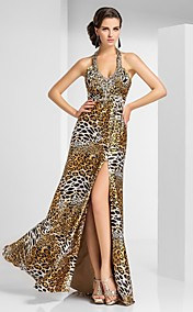 Sheath/Column Halter Floor-length Satin Evening Dress With Pattern/Print