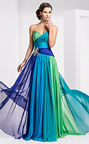 Sheath/Column Sweetheart Floor-length Chiffon Ombre Evening Dress