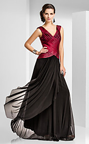 Sheath/Column V-neck Floor-length Tulle Evening Dress