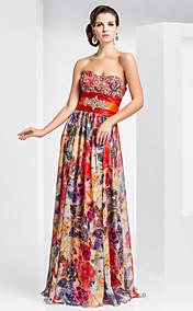 Sheath/Column Sweetheart Floor-length Chiffon Evening Dress With Pattern/Print