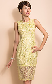 TS Simplicity Gold Lace Sleeveless Sheath Dress