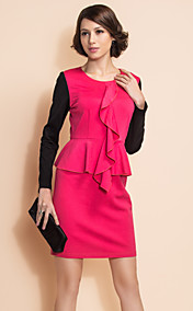 TS Contrast Color Long Sleeve Wasp Waist Ruffle Dress