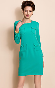 TS Simplicity Pockets Decor Slim Fit Long Sleeve Sheath Dress