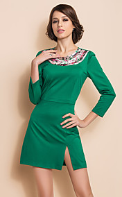 TS Contrast Round Collar Three Quarter Sleeve Slit Dress