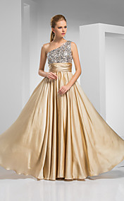 Sheath/Column One Shoulder Floor-length Satin And Chiffon Evening Dress