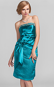 Sheath/Column Strapless Knee-length Satin Cocktail Dress