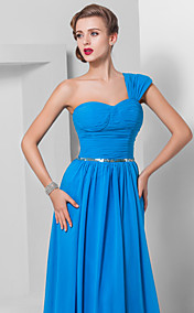 Sheath/Column One Shoulder Court Train Chiffon Evening Dress