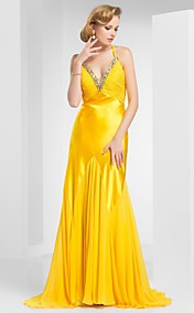 Trumpet/Mermaid V-neck Sweep Train Chiffon and Satin Evening Dress