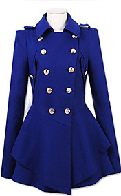 Women's Double-breasted Pleated Hem Cashmere Blends Coat