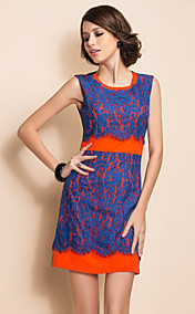 TS VINTAGE Contrast Color Lace Splicing Slim Dress