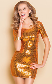 TS Sequin Short Sleeve Slim Bodycon Bandage Dress