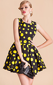 TS VINTAGE Polka Dots Sleeveless Pleats Fold Ball Dress