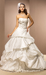 Ball Gown Strapless Chapel Train Taffeta Wedding Dress With Pick-ups