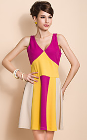 TS Contrast Coloar Vest Swing Jersey Dress