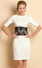 TS Lace Waist Decor Jersey Sheath Dress