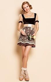 TS Round Neck Floral Embroidery Velvet Dress