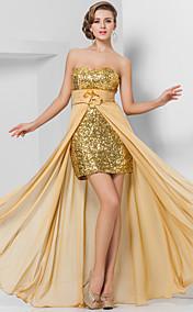 Sheath/Column Sweetheart Floor-length Chiffon And Sequined Evening Dress