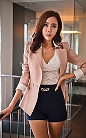 Women's Cuffed Blazer with Pleated Hem