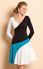 TS V Neck Contrast Color Pleats Dress