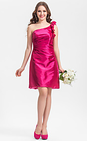 Sheath/Column One Shoulder Knee-length Taffeta Bridesmaid Dress