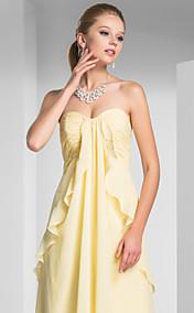 Sheath/ Column Sweetheart Sweep/ Brush Train Chiffon Elastic Woven Satin Evening Dress