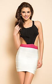 TS Contrast Color Backless Bandage Dress