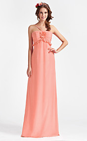 A-line Spaghetti Floor-length Chiffon Bridesmaid Dress