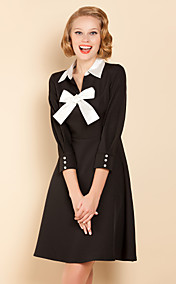 TS Black And White Bow Swing Dress