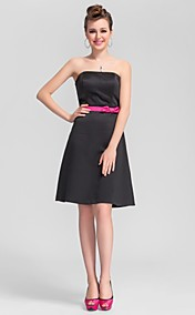 A-line Straps Knee-length Satin Cute Bridesmaid Dress with Removale Straps