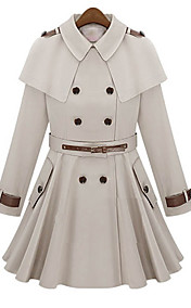 Women's Cape Shoulder Board Trench Coat with Wide Belt Detail