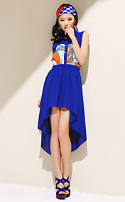 TS Contrast Color Print Irregular Hem Dress