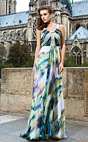 Sheath/Column Scoop Sweep/Brush Train Printed Chiffon Evening Dress